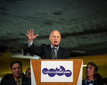 California Governor Jerry Brown at the California Science Center, Oct. 30, 2012. Photo Credit: (NASA/Bill Ingalls)