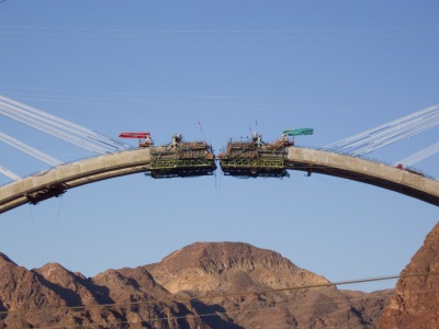 """Hoover Dam Bypass Bridge Construction 3"" by Alan Stark is licensed under CC BY-SA 2.0."